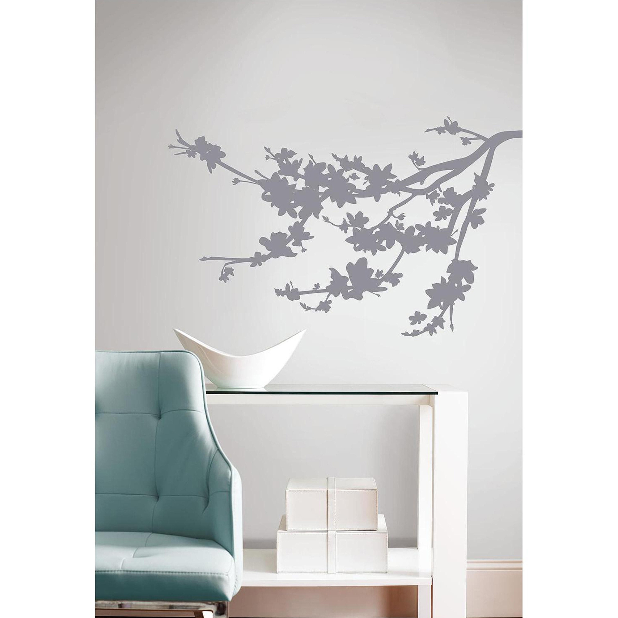 Well Liked Gray Silhouette Blossom Branch Peel And Stick Wall Decals – Walmart Inside Wall Art At Walmart (View 10 of 15)