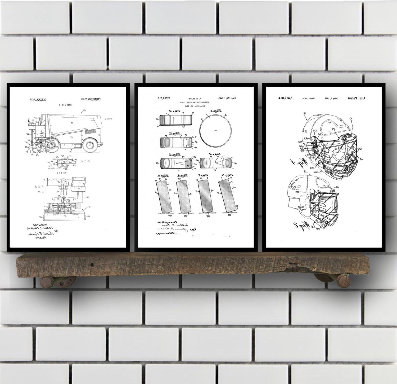 Well Liked Hockey Patents Set Of 2 Prints, Hockey Prints, Hockey Posters In Hockey Wall Art (View 6 of 15)