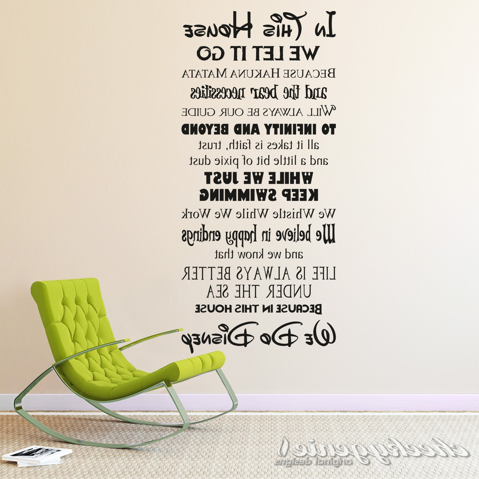 Well Liked In This House We Do Disney Style Quote Rules Vinyl Wall Art Sticker Inside Quote Wall Art (View 15 of 15)