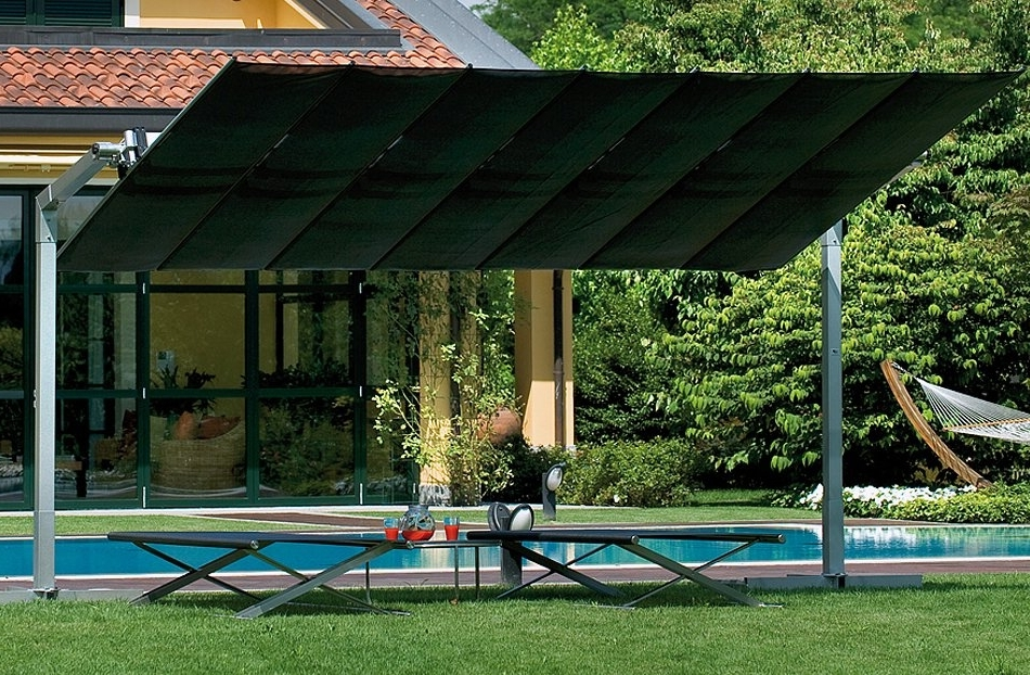 Well Liked Luxury Patio Outdoor With Fim Flexy Rectangular Offset Umbrella, And Throughout Rectangular Offset Patio Umbrellas (View 12 of 15)