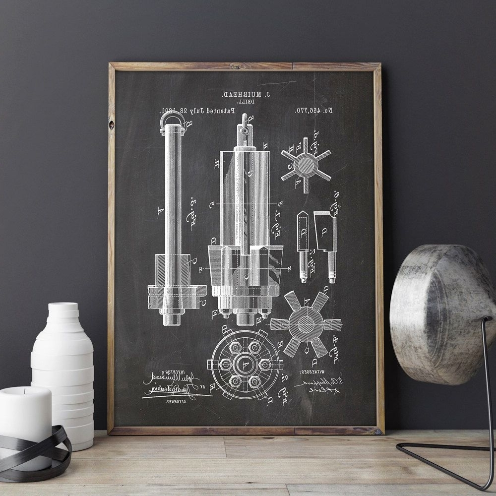 Well Liked Manly Wall Art Intended For Drill Printable, Drill Print, Industrial Blueprint, Garage Patent (View 15 of 15)