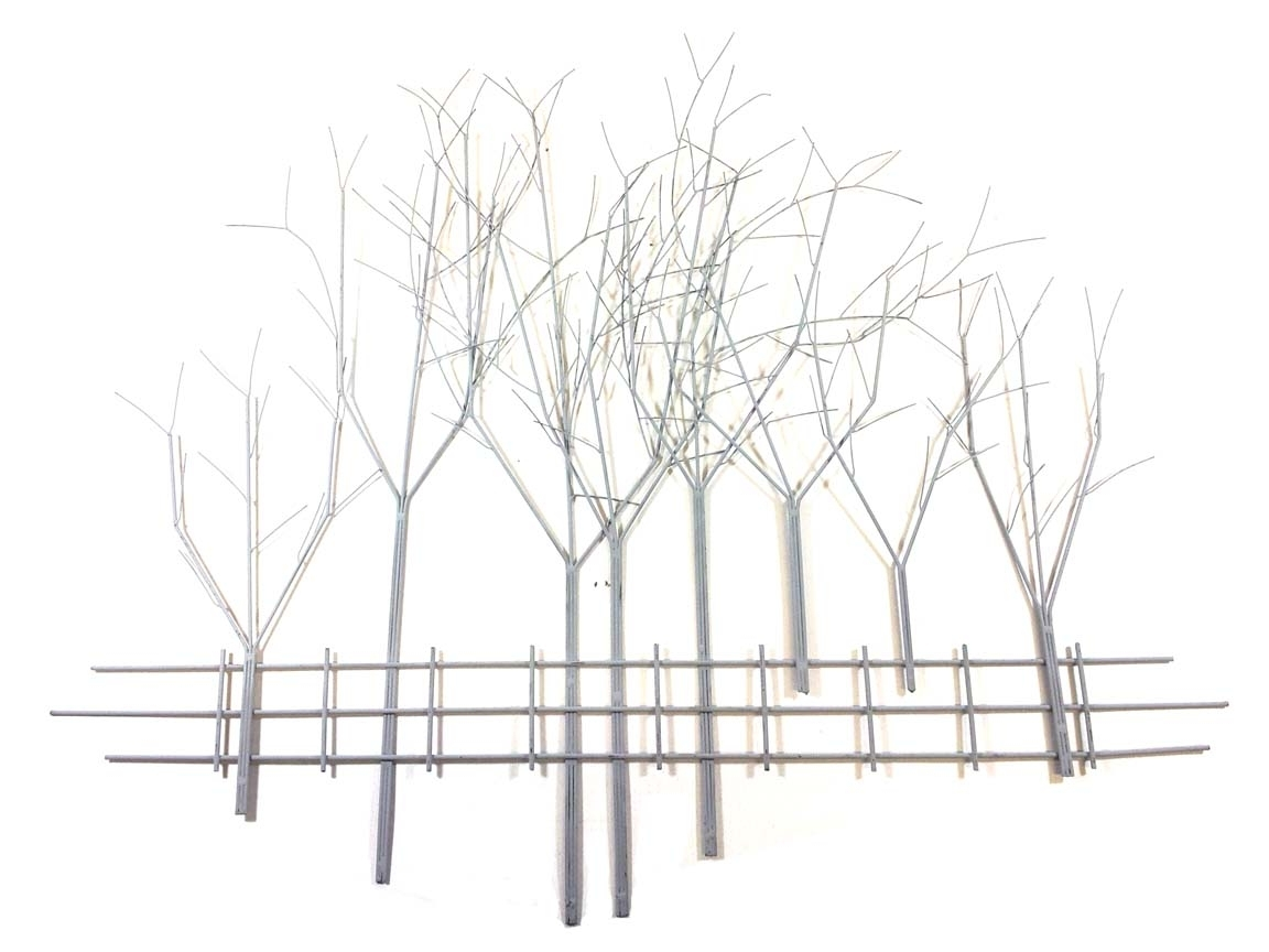 Well Liked Metal Wall Art Trees Intended For Metal Wall Art – Large Grey Winter's Day Tree Scene (View 4 of 15)