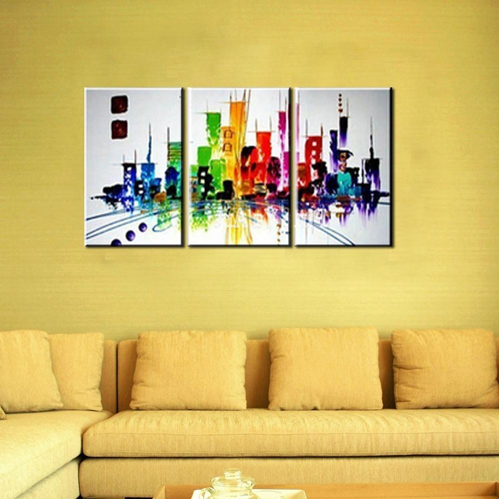Well Liked Modern Canvas Wall Art Inside 3 Piece Modern Canvas Wall Art Triptych Muti Abstract City Handmade (View 3 of 15)