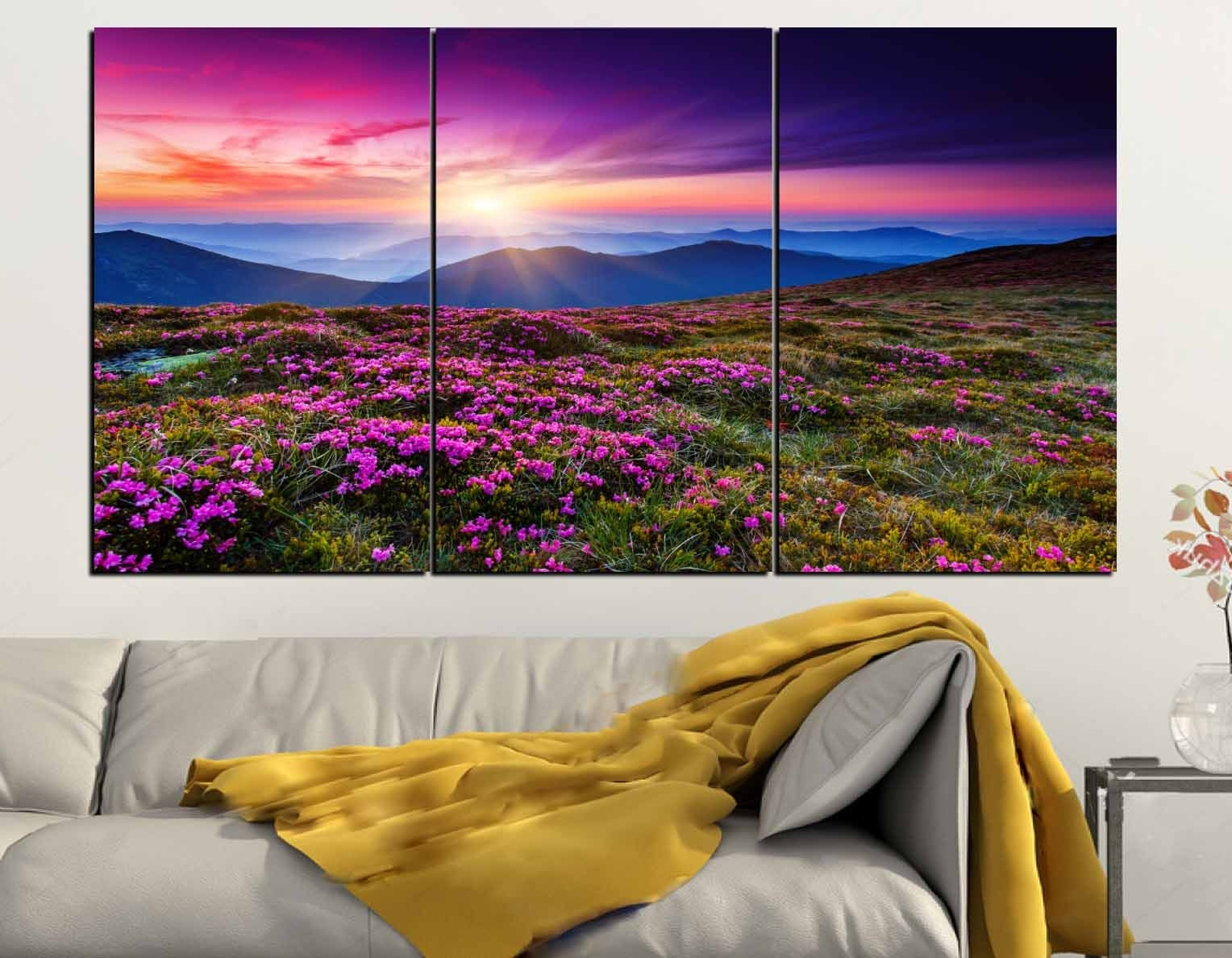 Well Liked Nature Wall Art Pertaining To Wild Flowers Wall Art 3 Panel Canvas Print,nature Wall Art,wild (View 12 of 15)