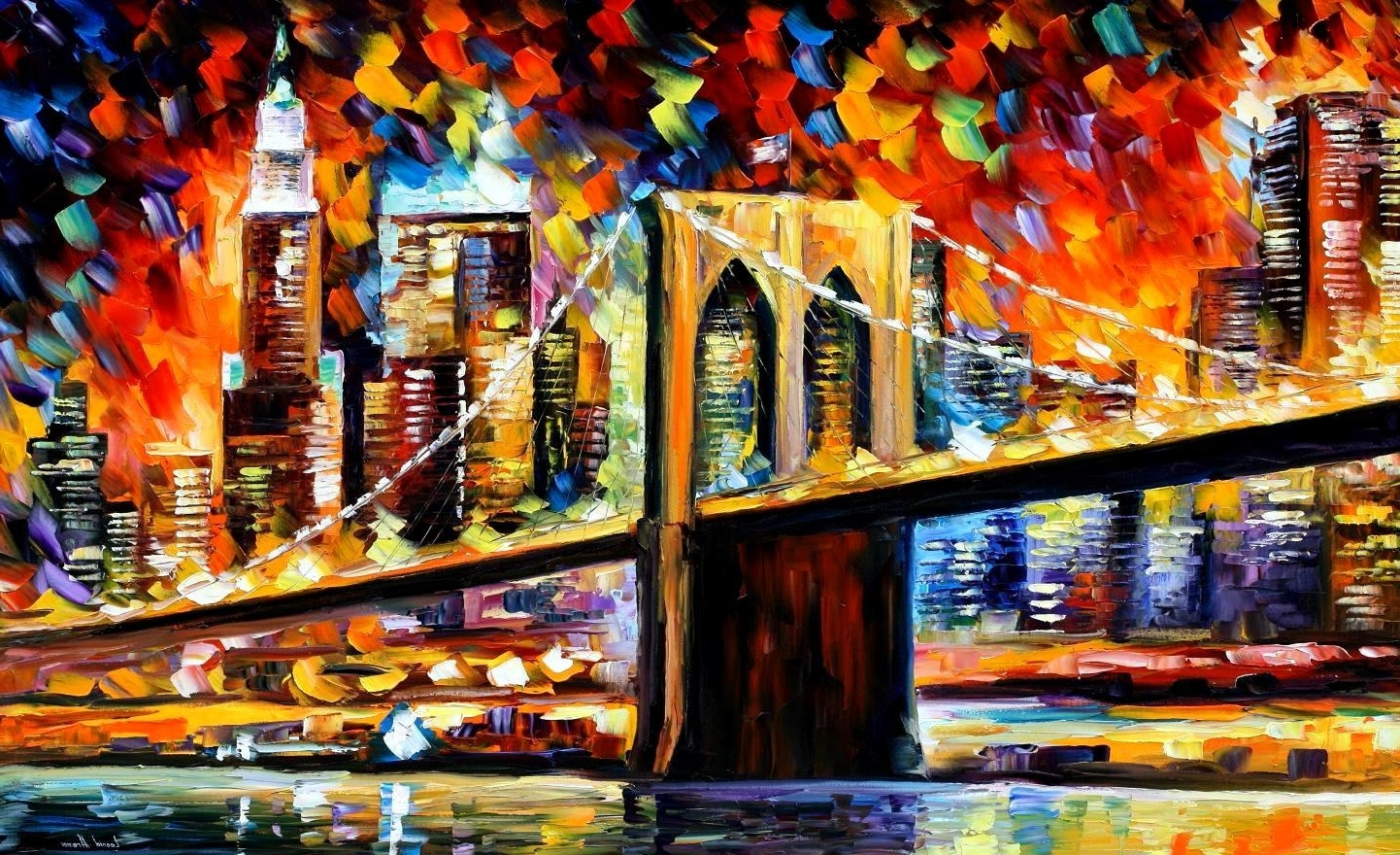 Well Liked Nyc Wall Art With Regard To Brooklyn Bridge — Palette Knife Oil Painting On Canvas Wall Art (View 15 of 15)