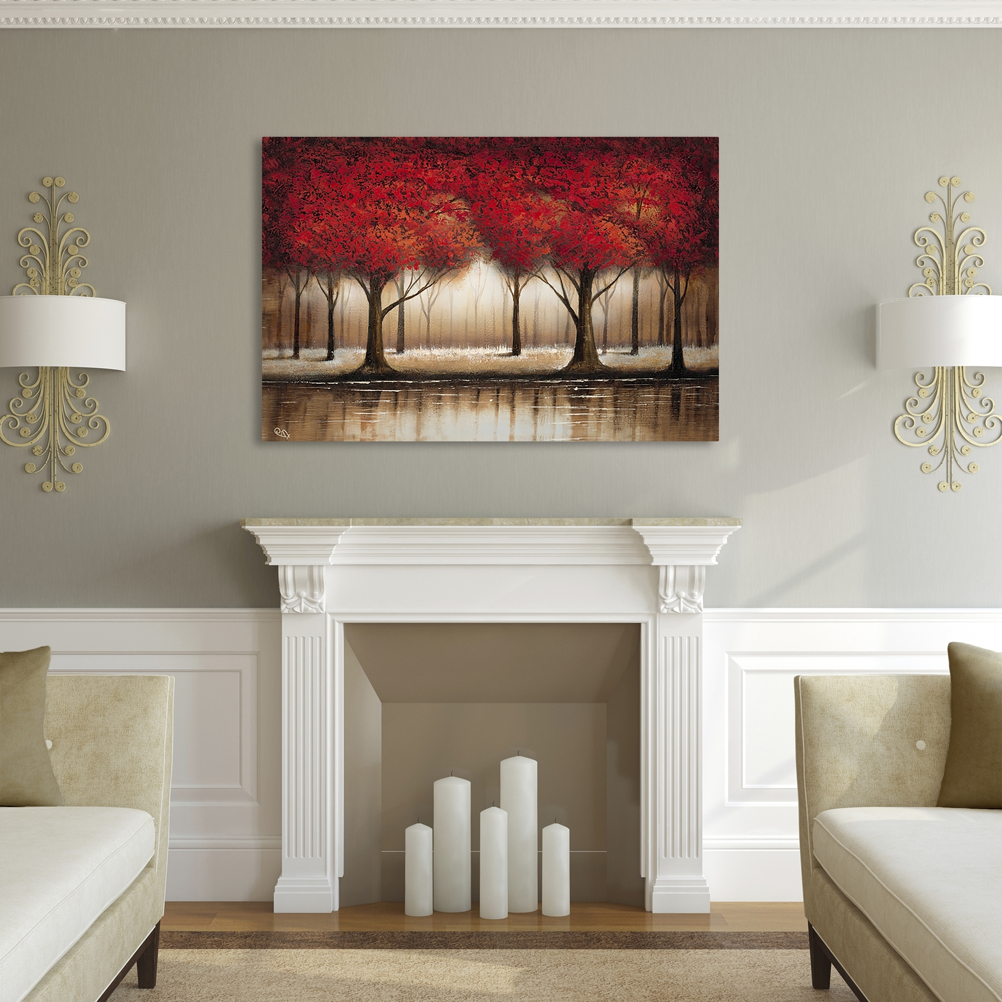 Well Liked Overstock Wall Art With Regard To Shop Gracewood Hollow Rio 'parade Of Red Trees' Canvas Art – Free (View 13 of 15)