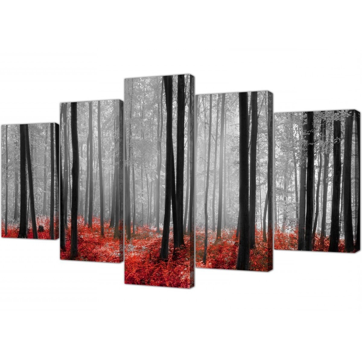 Well Liked Red And Black Canvas Wall Art Within Extra Large Canvas Prints Of Red Forest Woodland Trees In Black & White (View 7 of 15)