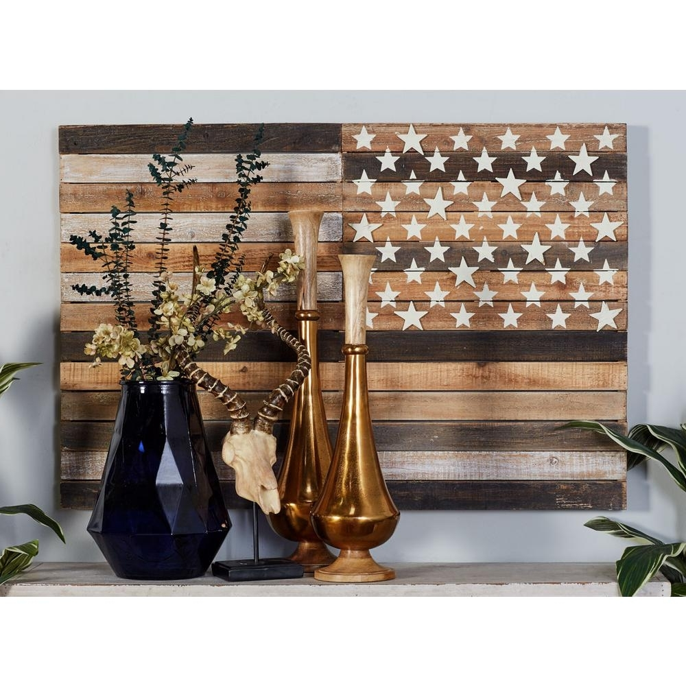 Well Liked Rustic American Flag Wall Art With Regard To Litton Lane 30 In. X 44 In (View 15 of 15)