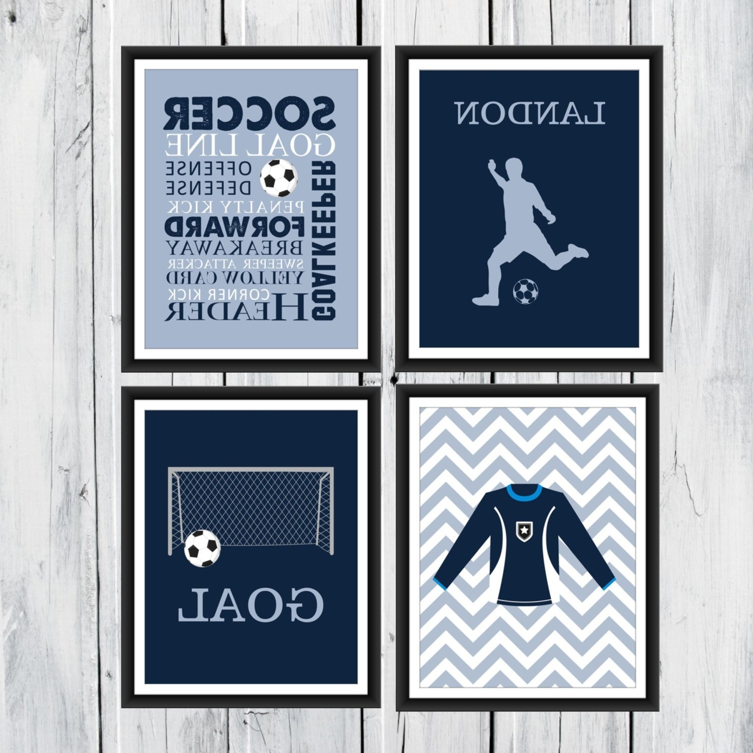 Well Liked Soccer Wall Art Intended For Soccer Wall Art – 4 Piece Set – Goal – Soccer Jersey – Soccer Word (View 9 of 15)