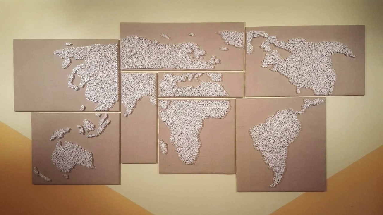 Well Liked String Map Wall Art In How To Make A String Art World Map – Youtube (View 8 of 15)