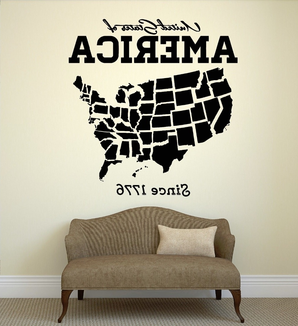 Well Liked Usa Map Wall Sticker United States Of America Map Mural Pvc Wall Art For United States Map Wall Art (View 6 of 15)
