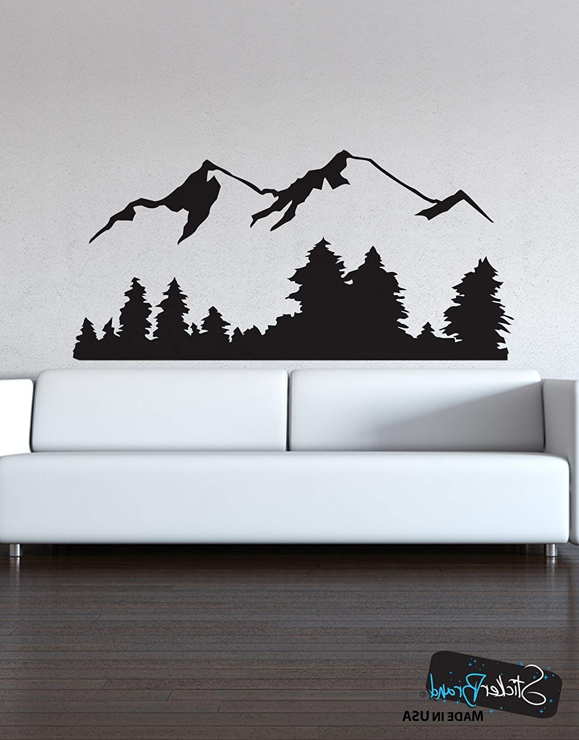 Well Liked Vinyl Wall Art Regarding Amazon: Stickerbrand Landscapes Vinyl Wall Art Snowy Mountain (View 15 of 15)
