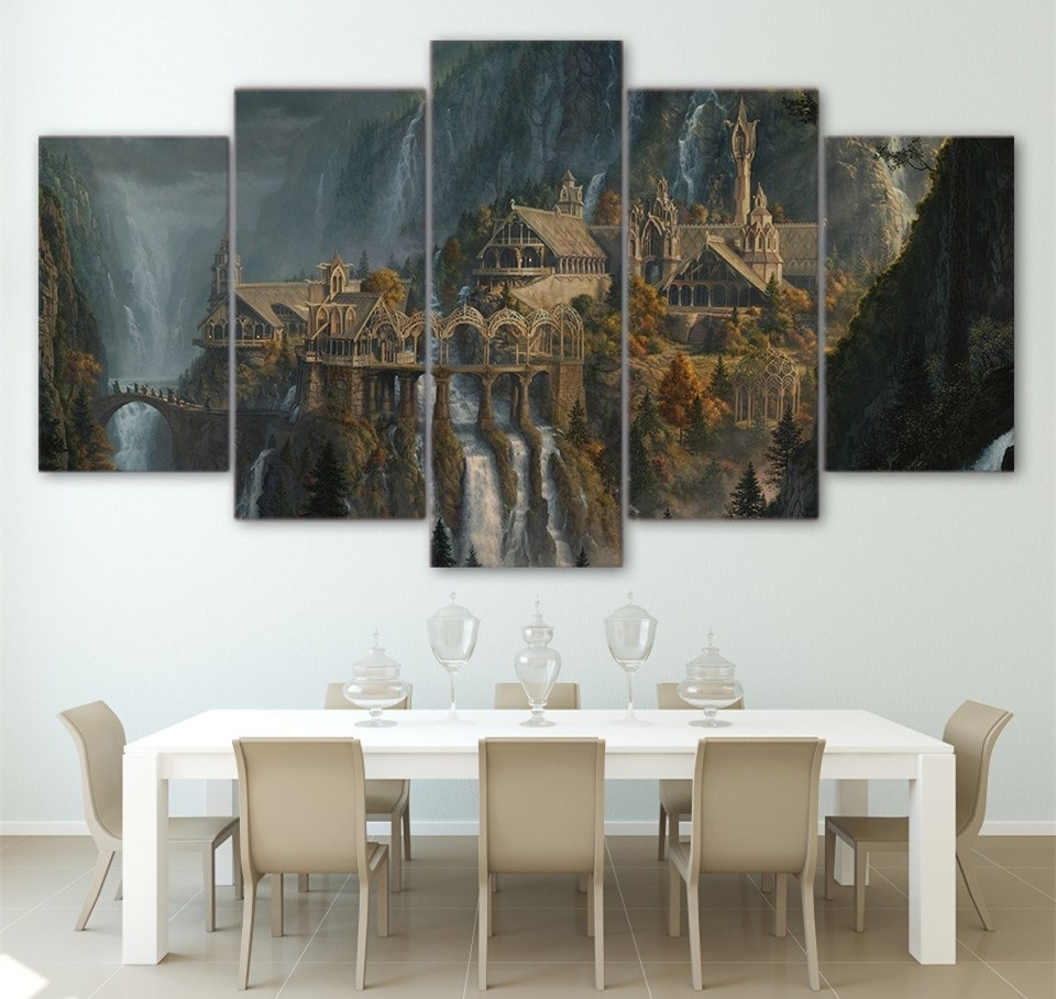 Well Liked Wall Printed 5 Piece Wall Art Lord Of The Rings Canvas Post Prints In Lord Of The Rings Wall Art (View 7 of 15)