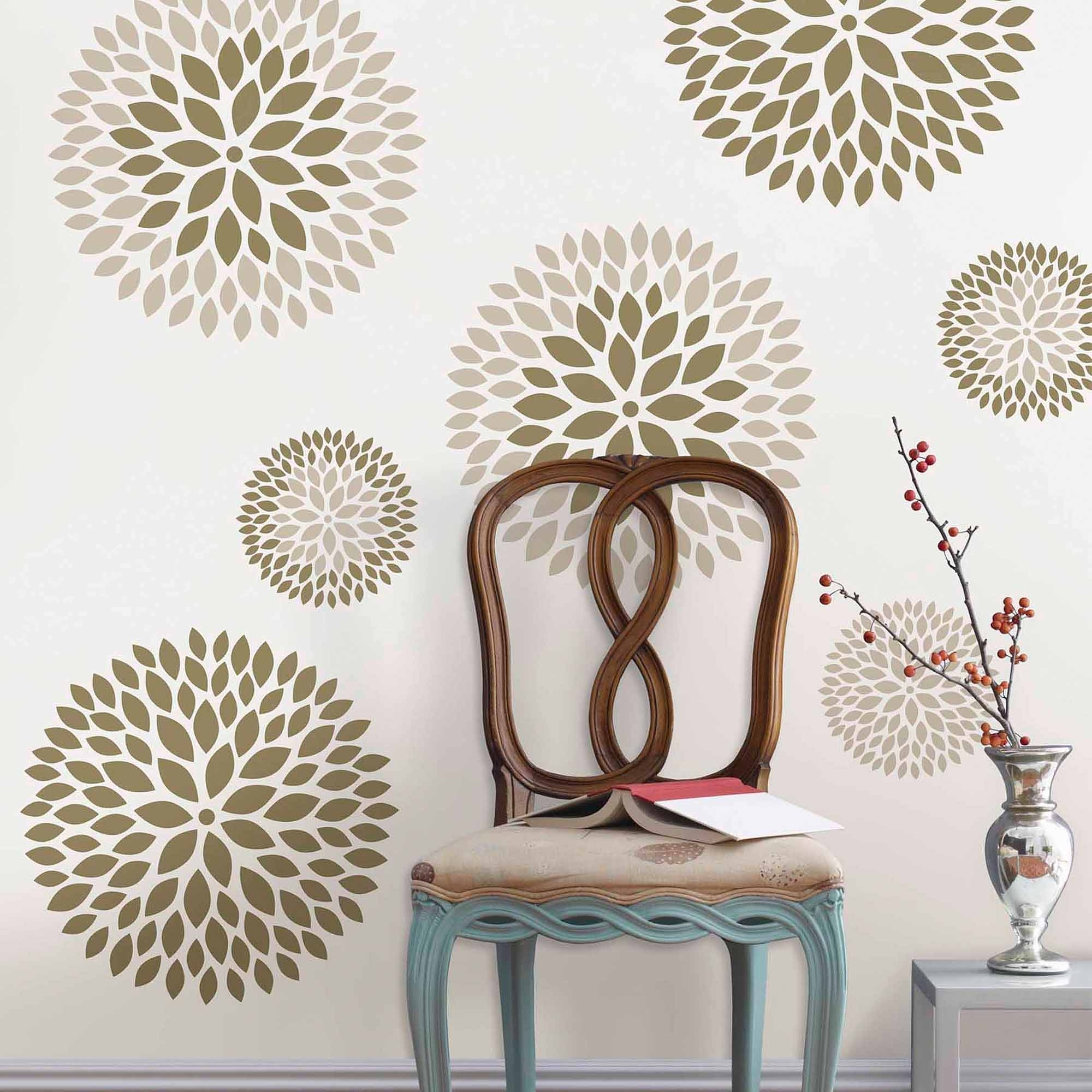 Well Liked Wallpops Chrysanthemum Wall Art Decals Kit – Walmart Regarding Wall Art At Walmart (View 15 of 15)