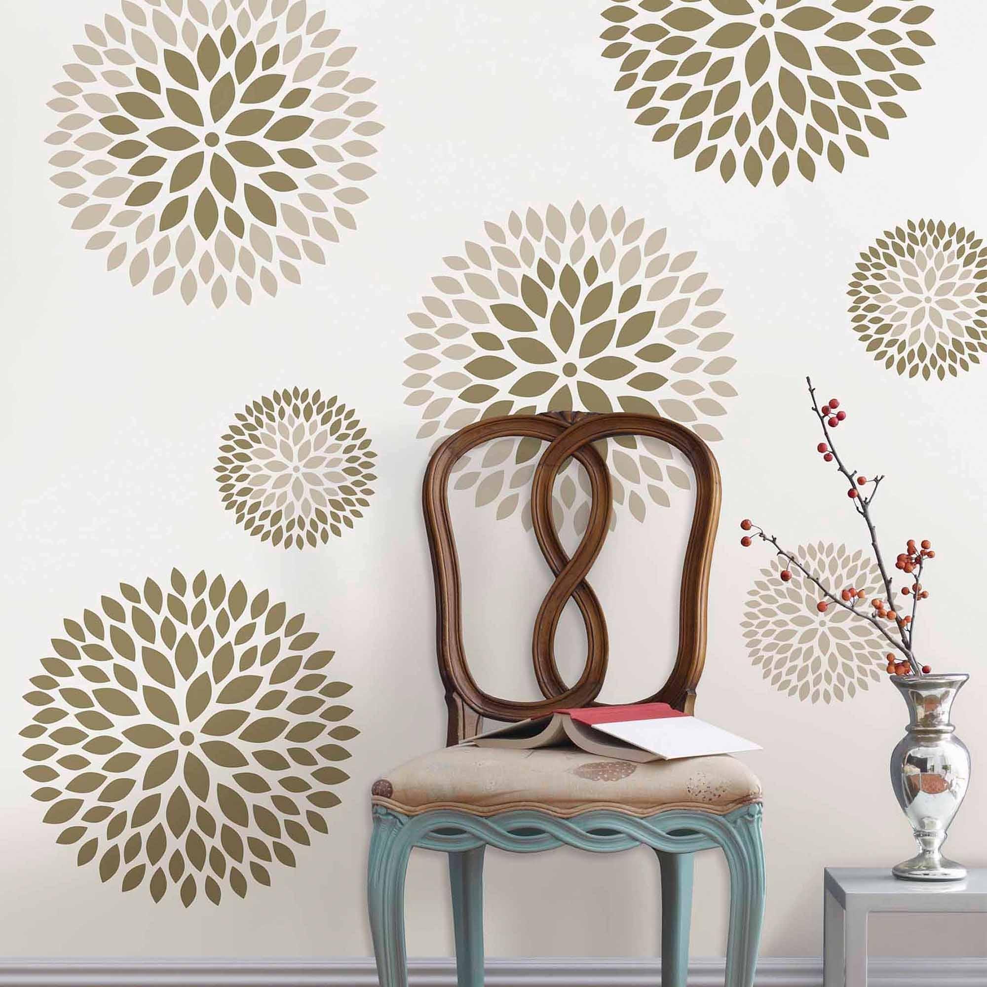 Well Liked Wallpops Chrysanthemum Wall Art Decals Kit – Walmart Regarding Wall Art At Walmart (View 15 of 15)