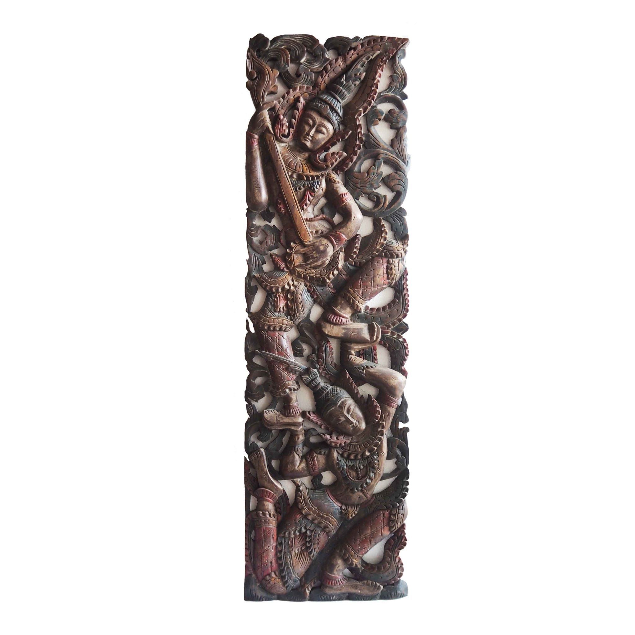 Well Liked Wood Carved Wall Art Within Buy Tropical Angel Carving Wooden Panel Online (View 11 of 15)