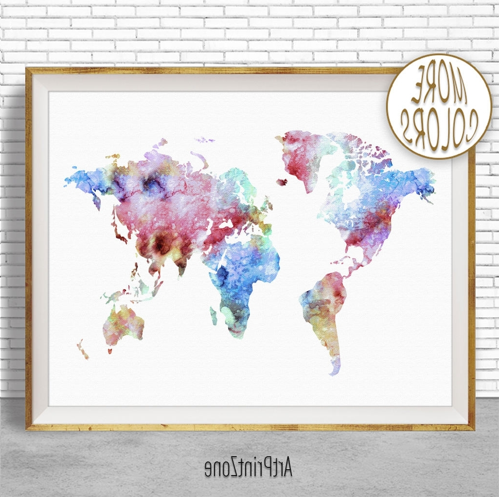 Well Liked World Map Print World Map Wall Art World Print World Map Poster For Map Wall Art Prints (View 15 of 15)