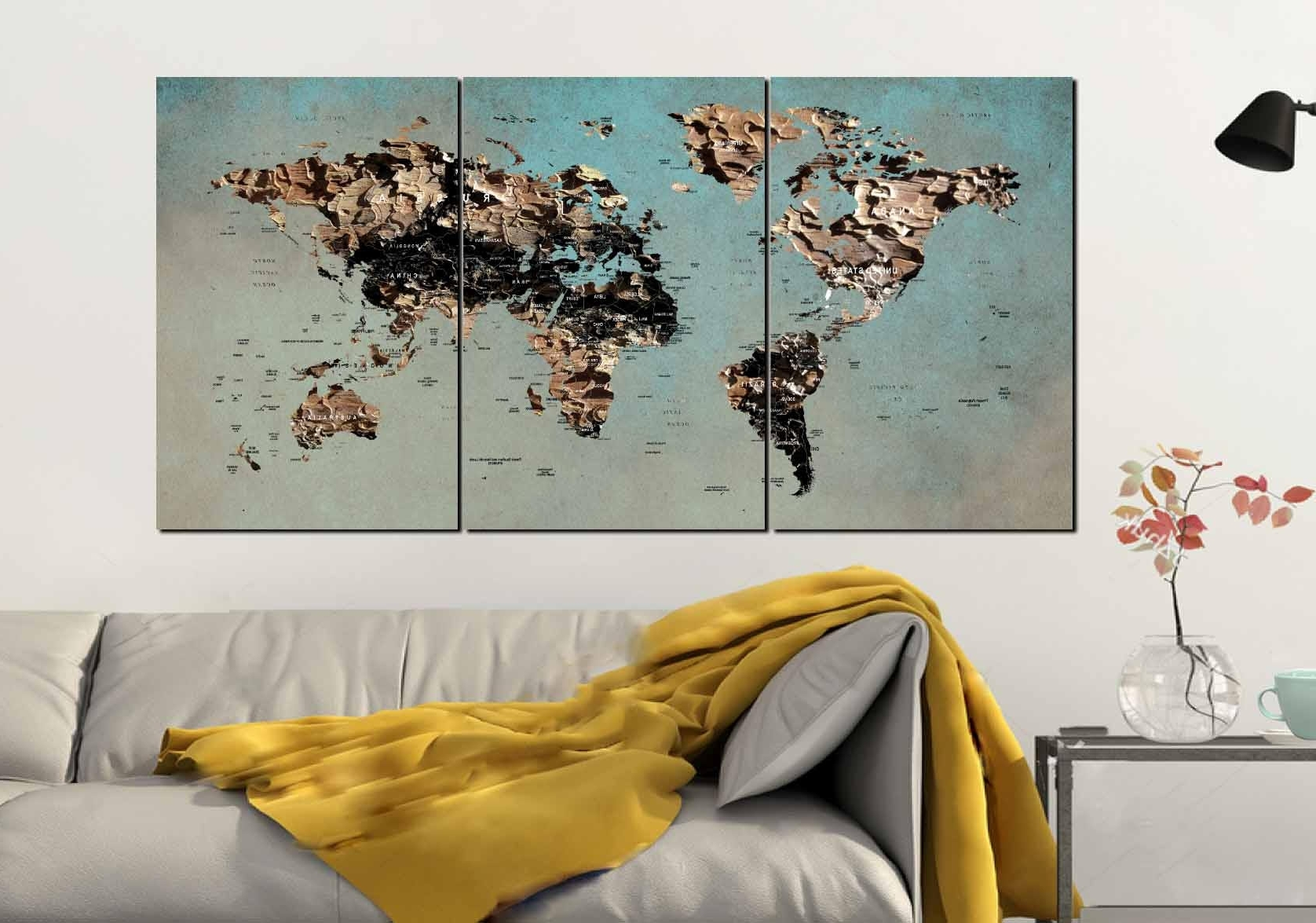 Well Liked World Map Wall Art,world Map Canvas,large World Map,world Map Art Intended For Wall Art Map Of World (View 14 of 15)