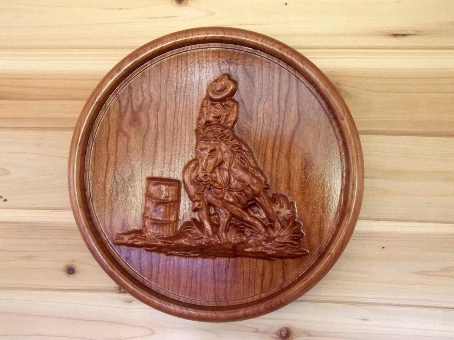 Western Wall Art Intended For Favorite Barrel Racing Cowboy – Wood Carving Wall Hanging – Western Wall (View 14 of 15)