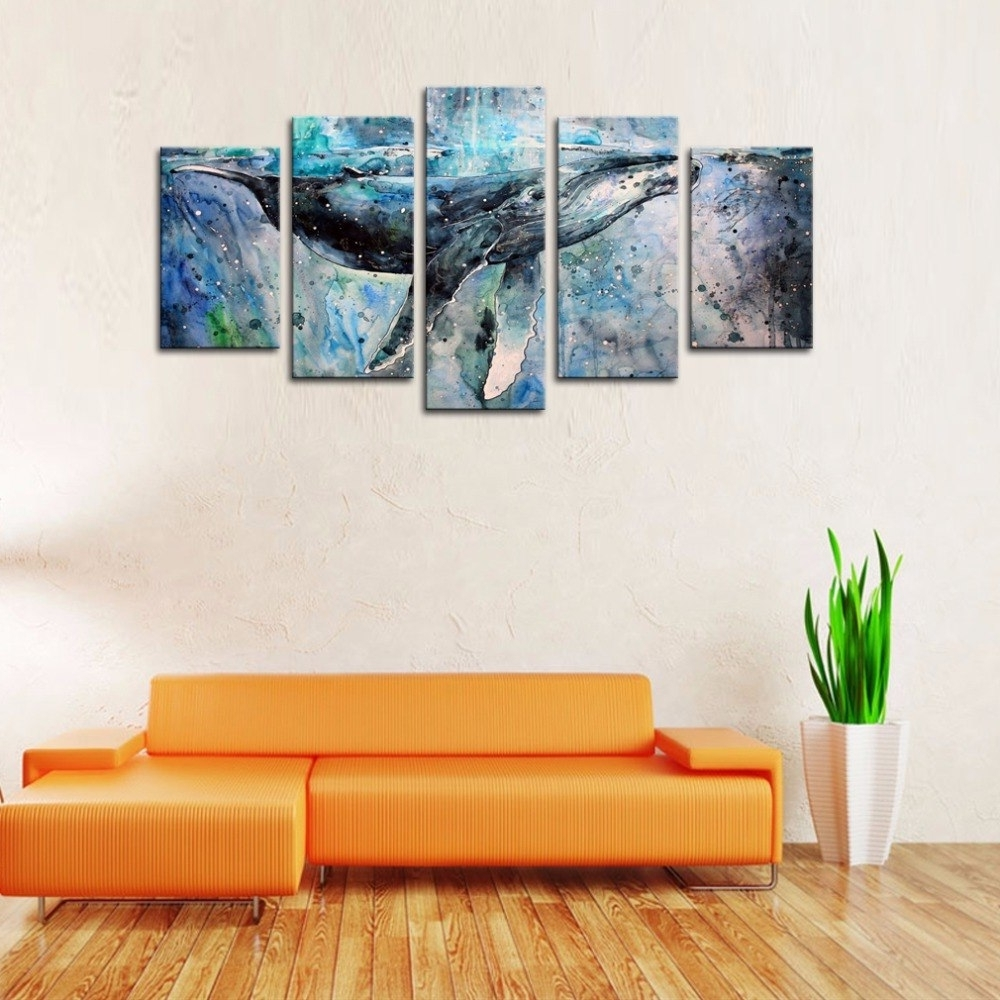 Whale Canvas Wall Art In Widely Used 5 Panels Abstract Blue Whale Picture Canvas Prints Modern Wall Art (View 7 of 15)