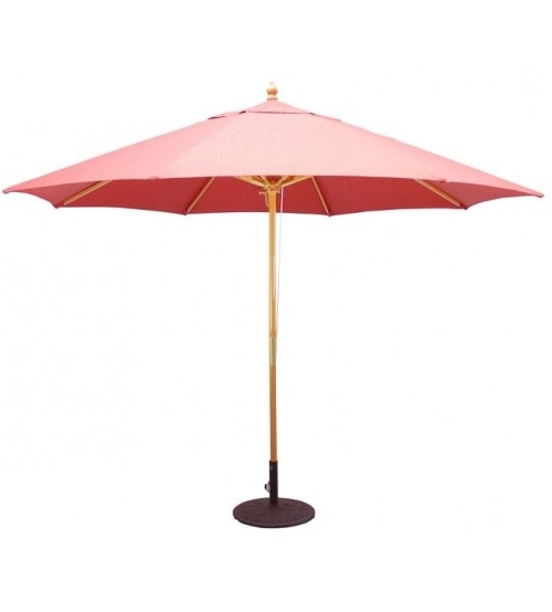 Wide Selection Large Umbrellas – Galtech 11' Wood Market Umbrella With Regard To Best And Newest Pink Patio Umbrellas (View 11 of 15)