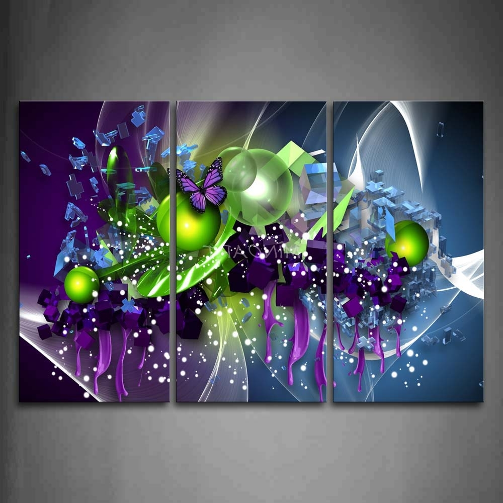 Widely Used 3 Piece Wall Art Painting Artistic Purple Butterfly Green Ball Print With Regard To Purple Wall Art Canvas (View 11 of 15)