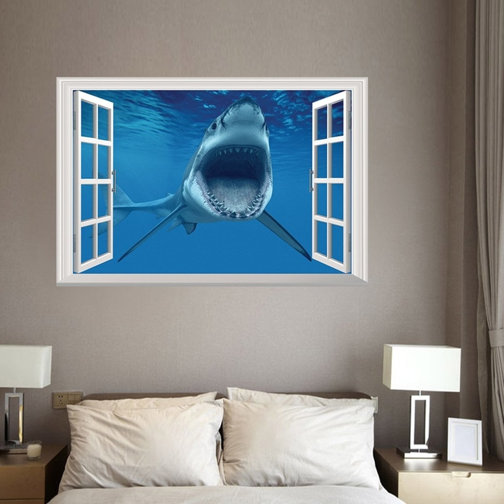 Widely Used 3D Wall Art With 2018 Window Shark 3D Wall Art Sticker For Bedrooms Blue (View 5 of 15)