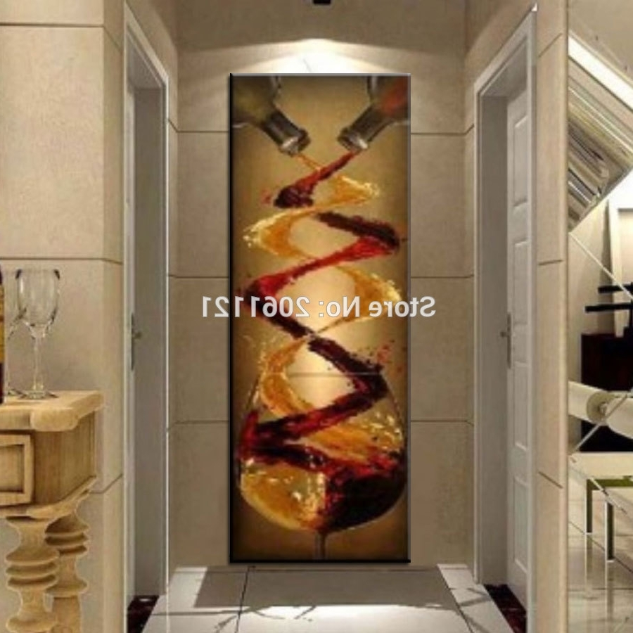 Widely Used Abstract Canvas Oil Painting Hand Painted Long Vertical Version Wall In Long Canvas Wall Art (View 6 of 15)
