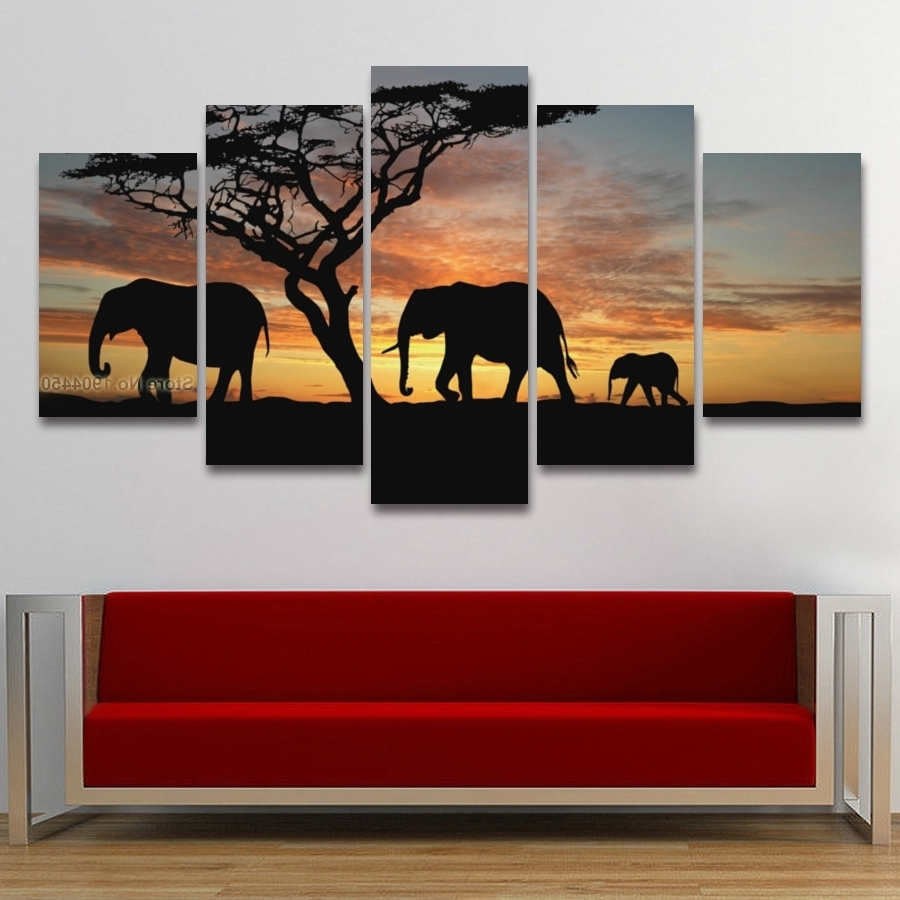 Widely Used African Wall Art Pertaining To 5 Panel Painting Canvas Wall Art African Elephant Scenery Landscape (View 15 of 15)