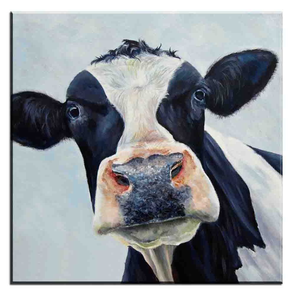 Widely Used Cow Canvas Wall Art In Xdr187 Abstract Canvas Wall Art Picture Colorful Cow Animal Canvas (View 15 of 15)