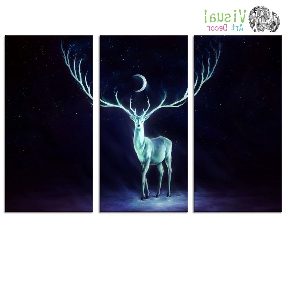 Widely Used Deer Canvas Wall Art Intended For Fancy Moon Starry Night Art Canvas Wall Art Beautiful Deer Canvas (View 13 of 15)