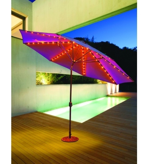 Widely Used Evening Party Patio Umbrellas – Large Galtech 11\' Auto Tilt Pertaining To Patio Umbrellas With Led Lights (View 14 of 15)