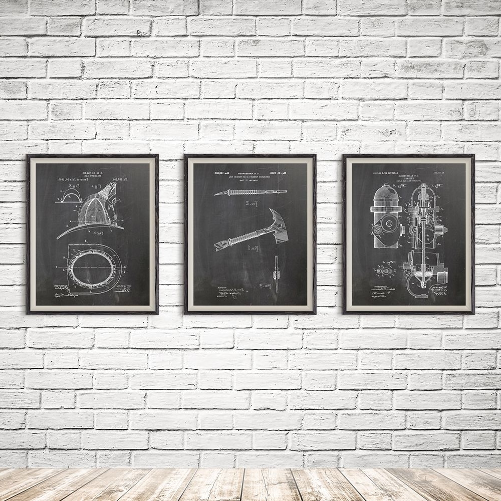 Widely Used Firefighter Wall Art Throughout Fireman Printable, Patent Print Group, Firefighter Art Gift (View 12 of 15)