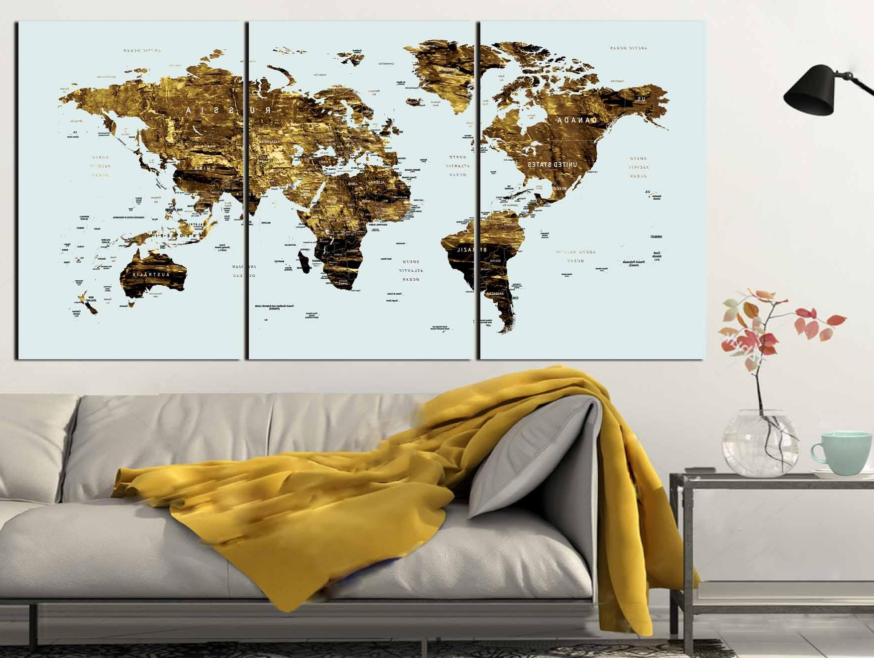Widely Used Gold Color Map Art,world Map Canvas Art,world Map Wall Art,large Regarding Wall Art World Map (View 14 of 15)