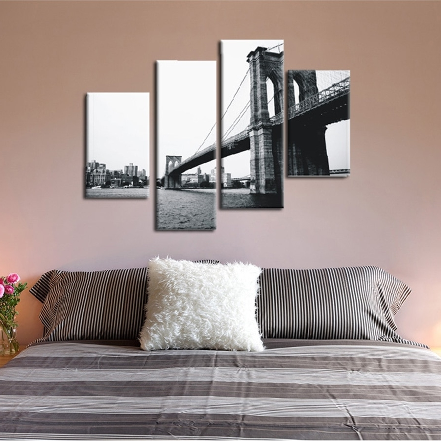 Widely Used Gray Canvas Wall Art In 4 Piece Canvas Prints Christmas Gift Abstract Grey Canvas Wall Art (View 15 of 15)
