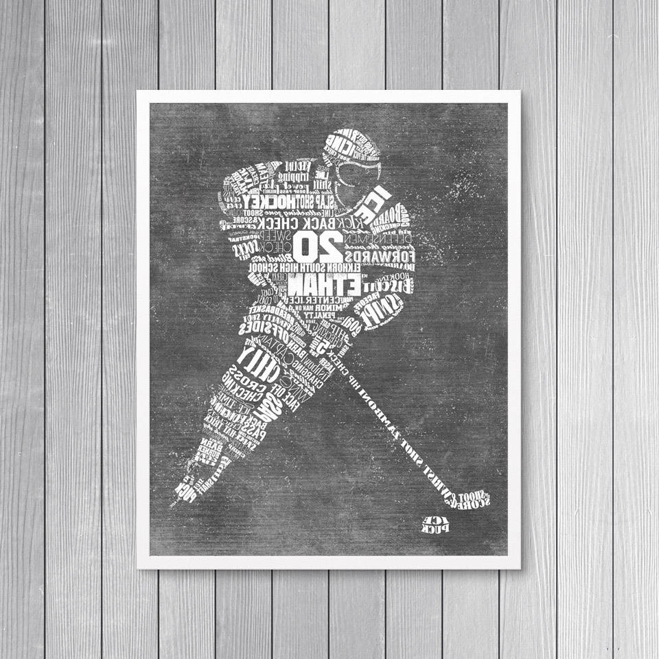 Widely Used Hockey Wall Art In Personalized Hockey Gift  Hockey Coach Gift – Hockey Wall Art (View 13 of 15)