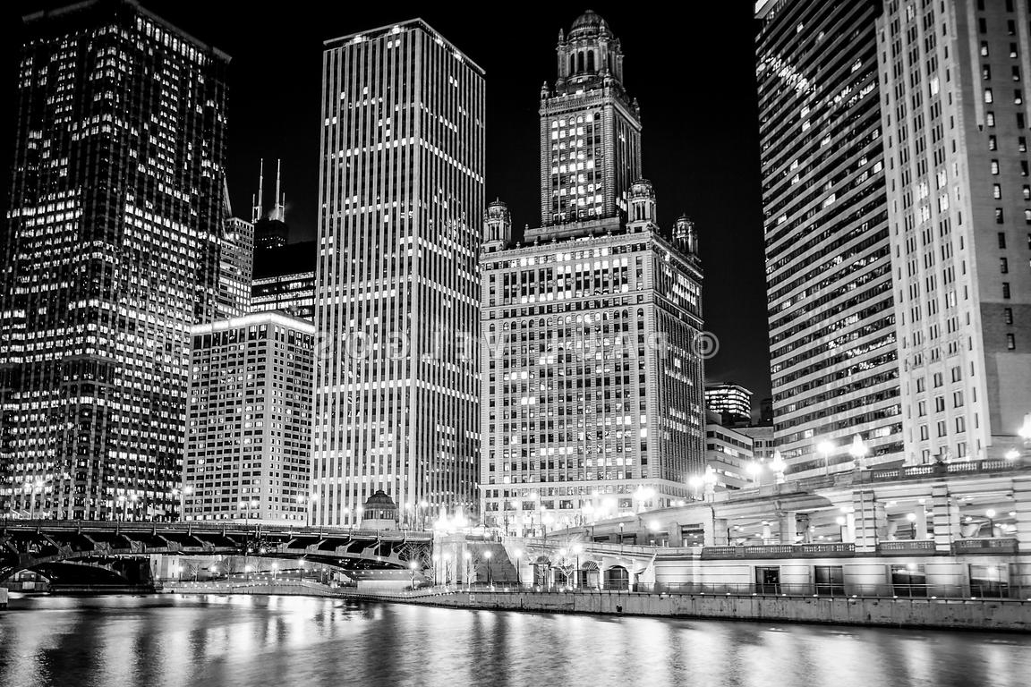 Widely Used Image: Chicago Downtown At Night Black And White Picture Large Regarding Chicago Wall Art (View 12 of 15)