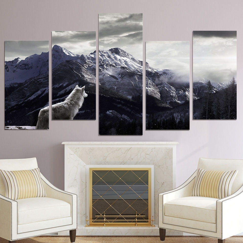 Widely Used Large Canvas Wall Art With Wolf Canvas 5 Piece Wall Art Prints Snow Mountain Picture Large Home (View 15 of 15)