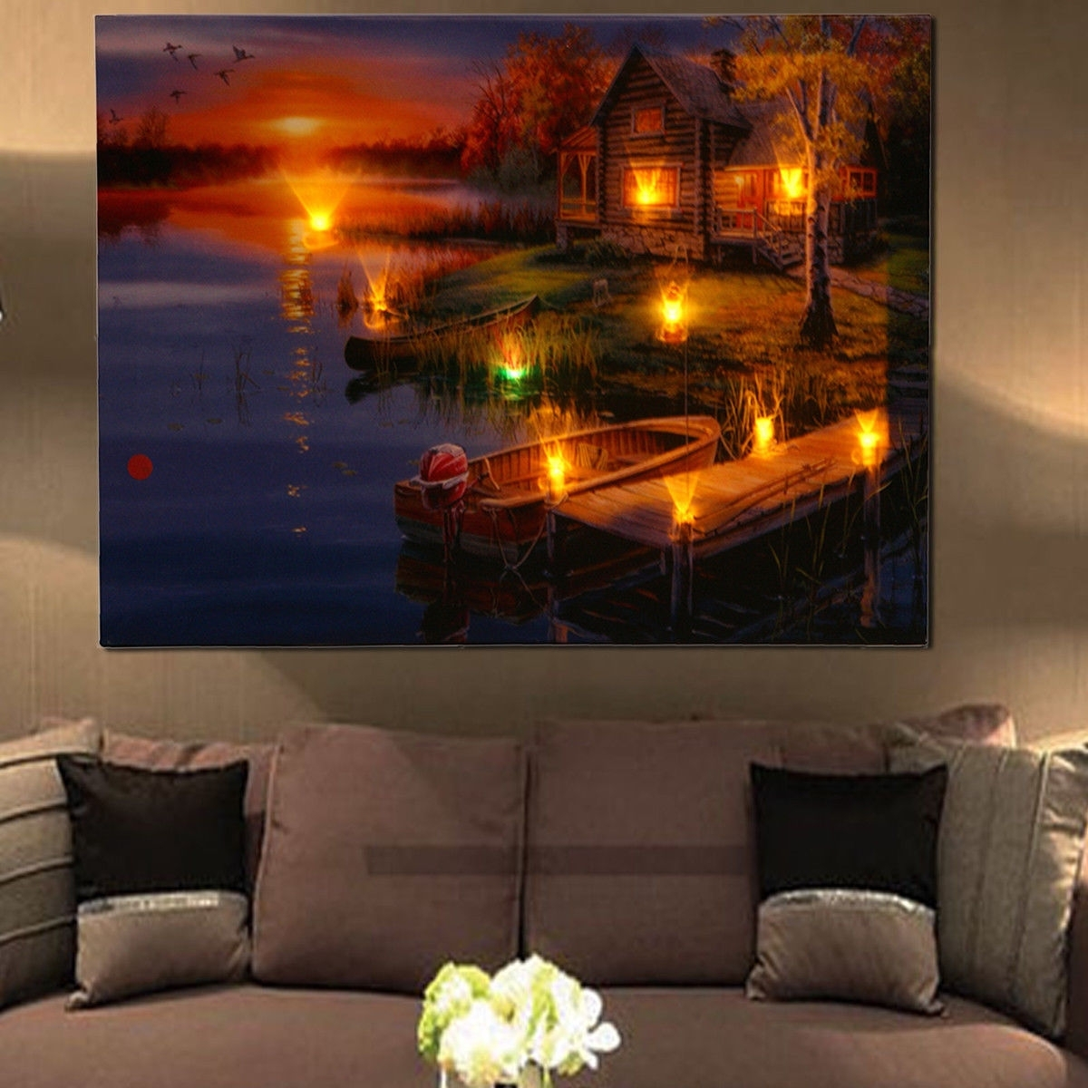 Widely Used Led Lighted Lake Cabin Sunset Boat Canvas Wall Art Light Up Picture Within Light Up Wall Art (View 15 of 15)