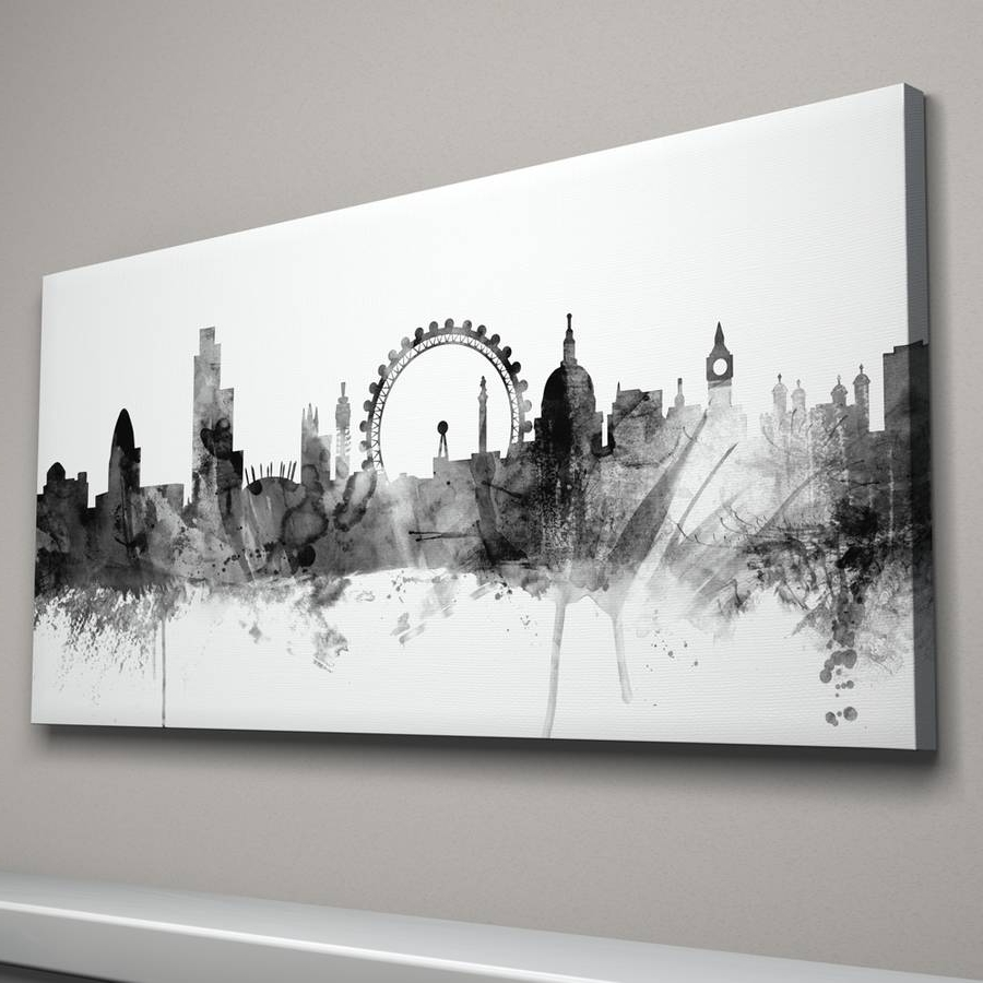 Widely Used London Skyline Cityscape Black And Whiteartpause For Black And White Canvas Wall Art (View 10 of 15)