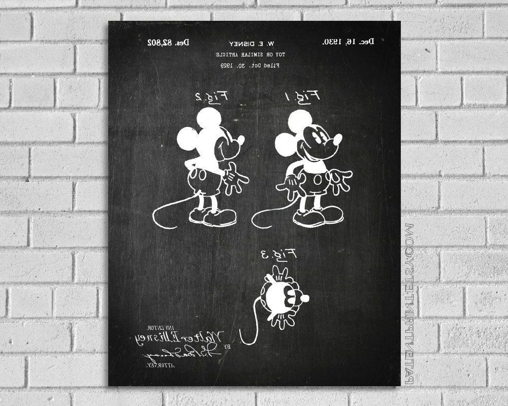 Widely Used Mickey Mouse Canvas Wall Art Pertaining To Mickey Mouse Print, Mickey Mouse Patent, Mickey Mouse Poster, Mickey (View 15 of 15)