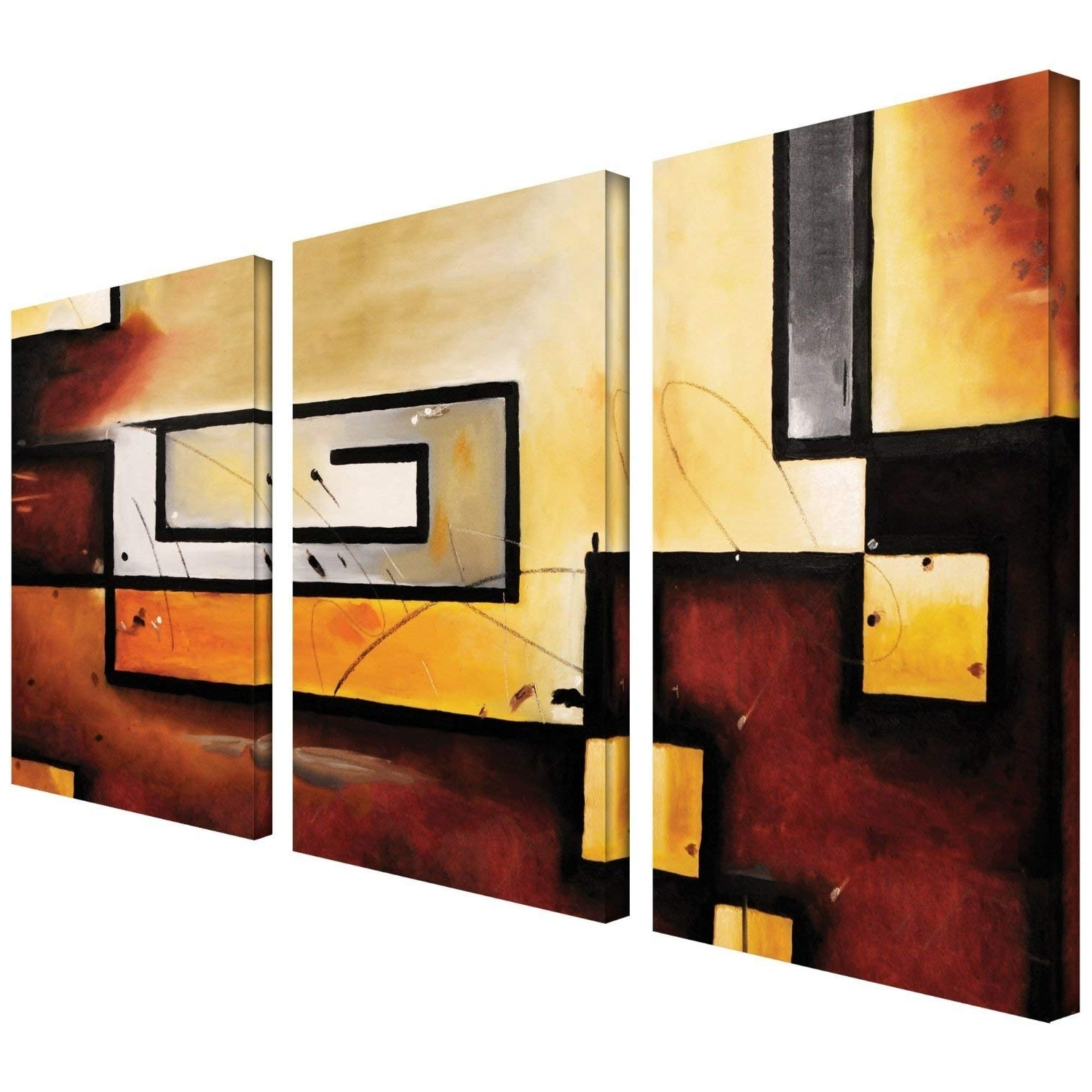 Widely Used Modern Canvas Wall Art With Amazon: Art Wall 3 Piece Abstract Modern Gallery Wrapped Canvas (View 15 of 15)