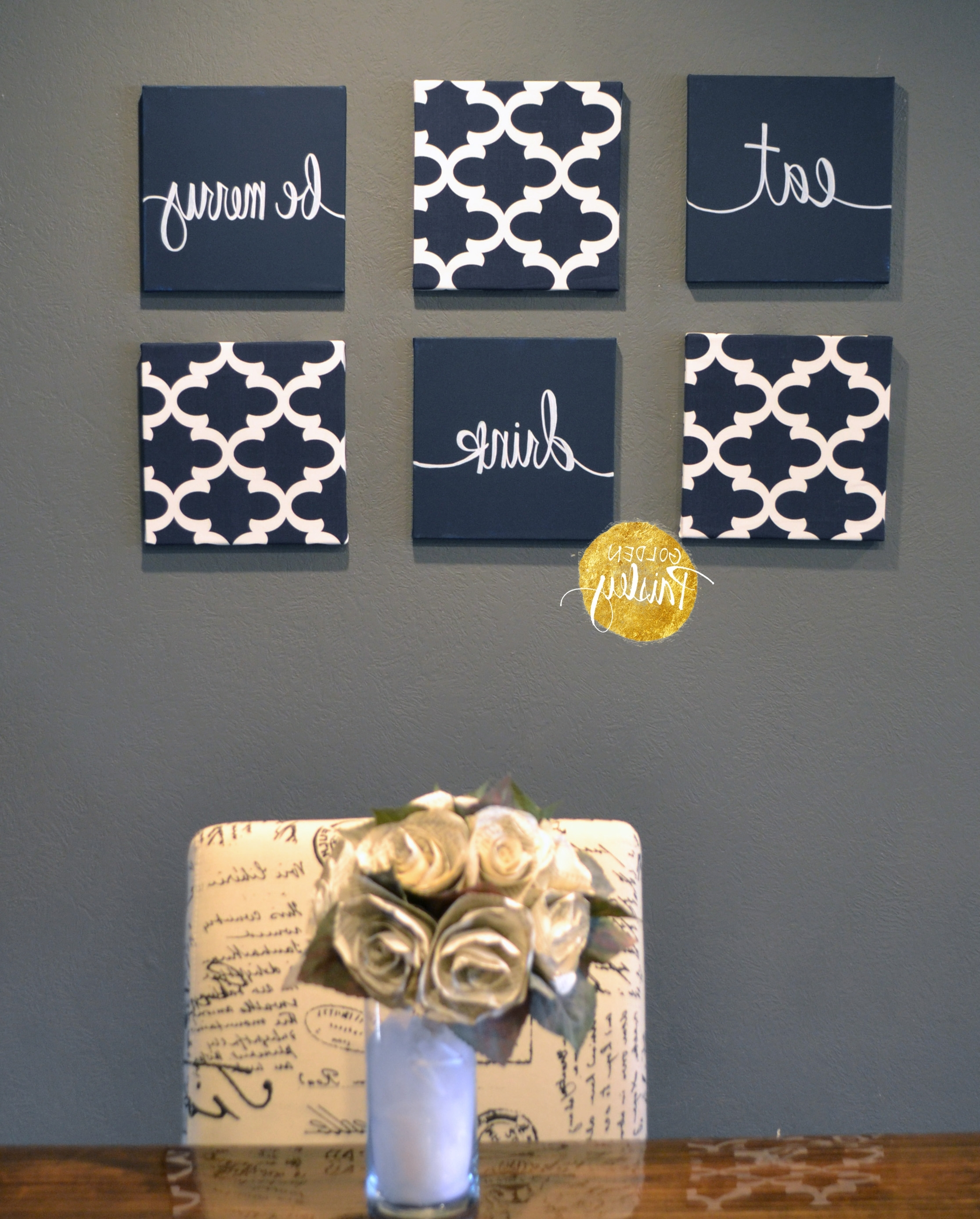 Widely Used Navy Blue Wall Art Set With Canvas Wall Art Quotes (View 14 of 15)
