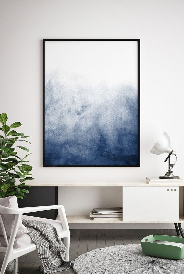Widely Used Navy Blue Wall Art Within Navy Blue Watercolour Printable Indigo Artwork, Minimalist Print (View 7 of 15)