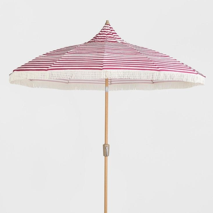 Widely Used Opalhouse Pink White Striped Fringed Patio Umbrella Pertaining To Striped Patio Umbrellas (View 15 of 15)