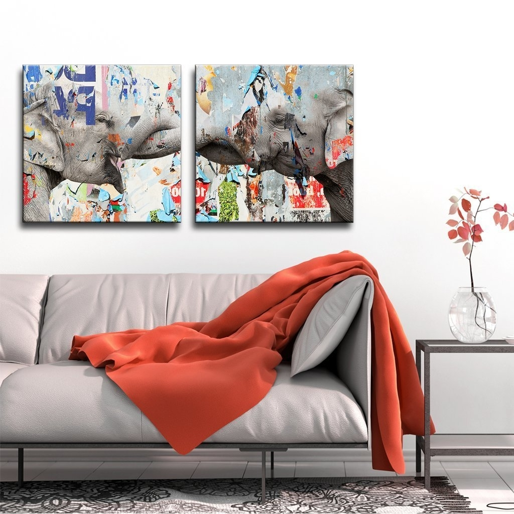 Widely Used Overstock Wall Art With Regard To Shop Clay Alder Home 'saddle Ink Elephant Vi' Canvas Wall Art Set (View 12 of 15)