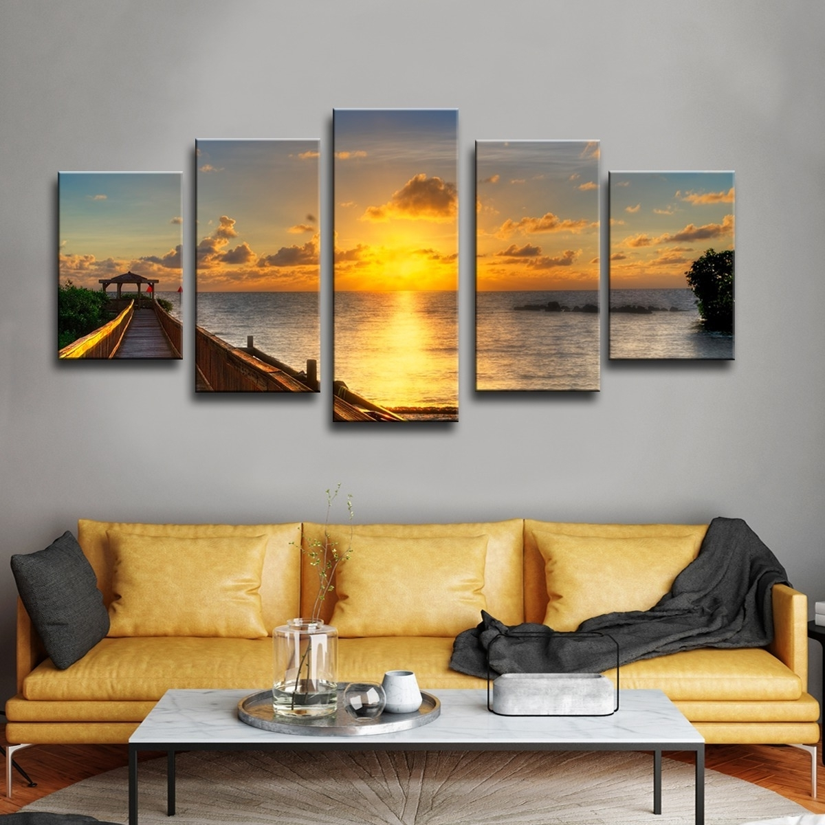 Widely Used Overstock Wall Art Within Shop Havenside Home Key's Sunrise' 5 Piece Set Canvas Wall Art (View 6 of 15)