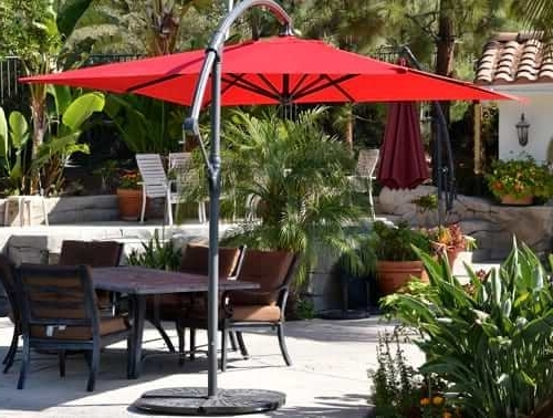 Widely Used Red Patio Umbrellas In Offset Patio Umbrella – Red 10' Squarequality Patio Umbrellas (View 14 of 15)