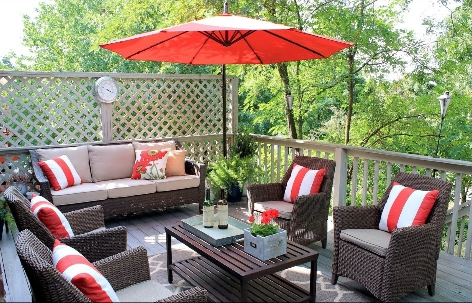 Widely Used Red Patio Umbrellas Intended For Lovely Patio Furniture Cushions Matching Umbrella (View 13 of 15)