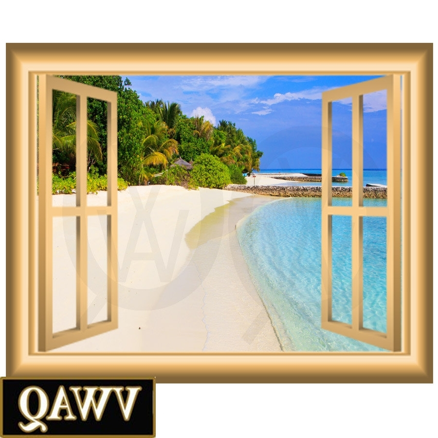 Widely Used Sandy Beach Vinyl Decal Window Frame Scene Wall Art Peel And Stick Within Window Frame Wall Art (View 3 of 15)